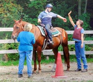 Leçon d'équitation thérapeutique au Projet Récolte Chanceuse